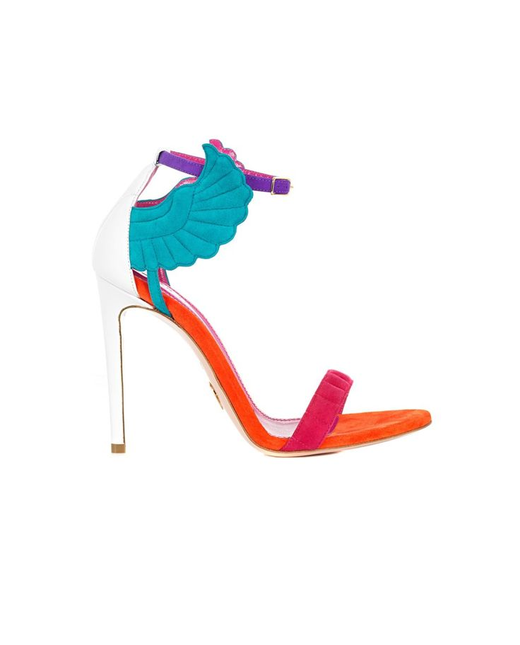 """Multicolor sandals """"Malikah"""" in leather and suede with wings on the side leather sole front closure with adjustable strap Heel: 11 cm"""