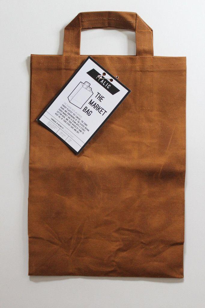 Hand-waxed canvas market bag.