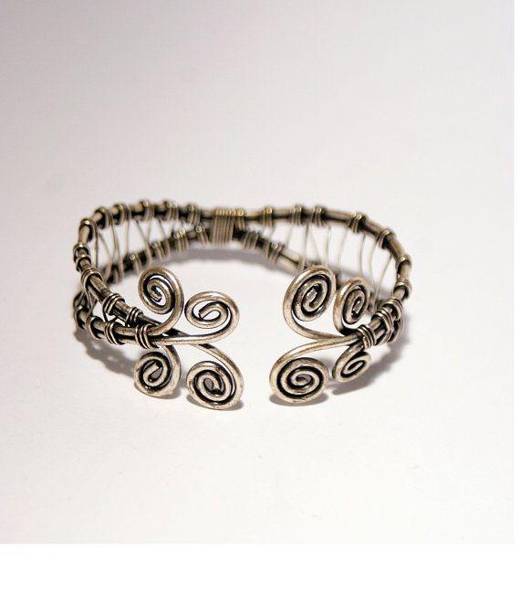 cuff bracelet in handmade wire wrapped jewelry by BeyhanAkman
