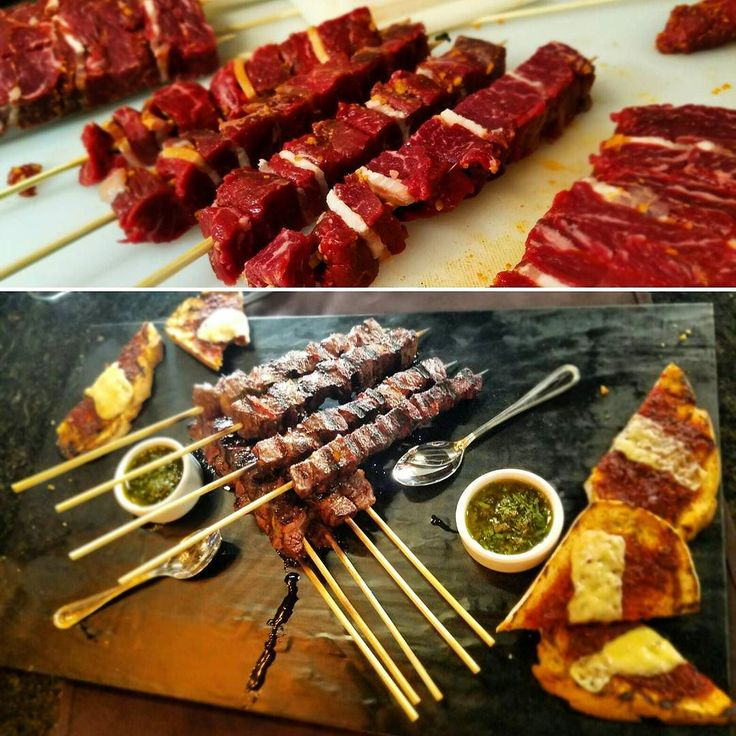 "Here we are showing you some ""Picanha"" (Culote) grilled skewers served with special chimichurri special made last weekend at our friend birthday party.  Besides these we will serve grilled chicken pork lamb fish pineapple and ham and brussels sprouts skewers.  Among other dishes and sides These are just some of the different healthy and affordable dishes you will find at our places by late spring.  #healthygrillusa #healthyskewers #skewers #kebabs #nocarcinogens #cancerfree #sanfrancisco…"