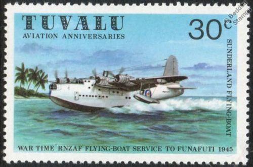 Rnzaf Short Sunderland S 25 Flying Boat Seaplane Aircraft Stamp 1980 Tuvalu