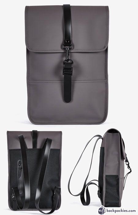 RAINS Backpack Mini - A smart and minimalist backpack for women. Perfect work backpack - Learn more: https://backpackies.com/blog/best-womens-backpacks-for-work/#rains