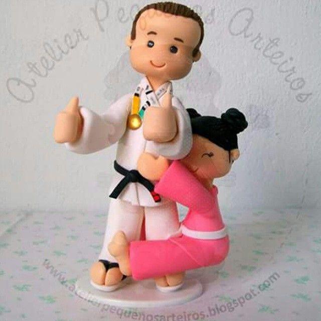 Topo de bolo judocas. Cake top judokas.