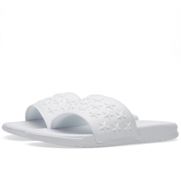 Nike Benassi JDI QS (260 BRL) ❤ liked on Polyvore featuring shoes, cushioned