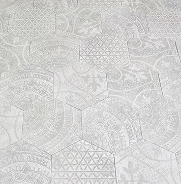Decorative, Elegant, Cement, Hand-Pressed, Modest Price, Studio V188 - Decorative Hexagon Collection, The Tile Gallery, (312) 467-9590, www.tilegallerychicago.com