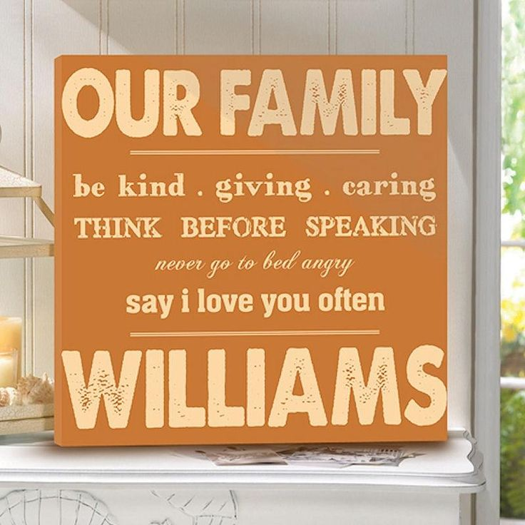 Rules of Our Family Print on Canvas | Personalized Wall Art 14x14