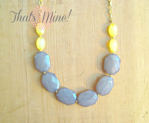 Yellow Grey long necklace Yellow Grey by ThatsmineBoutique on Etsy, $26.00 @Holly Hall cute, right?