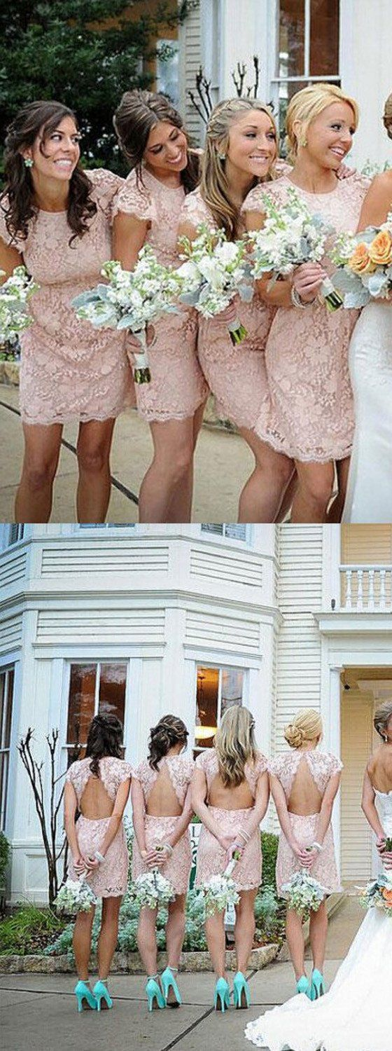 Fashion Cap Sleeve Open Back Small Round Neck Short Lace Blush Pink Mini Cheap Bridesmaid Dresses, WG116 The short bridesmaid dresses are fully lined, 4 bones i