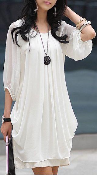 Adorable White Chiffon Dress Fashion