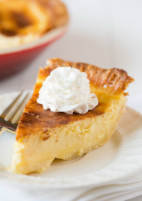 Buttermilk Pie Recipe - the top of the custard pie is sprinkled with ...