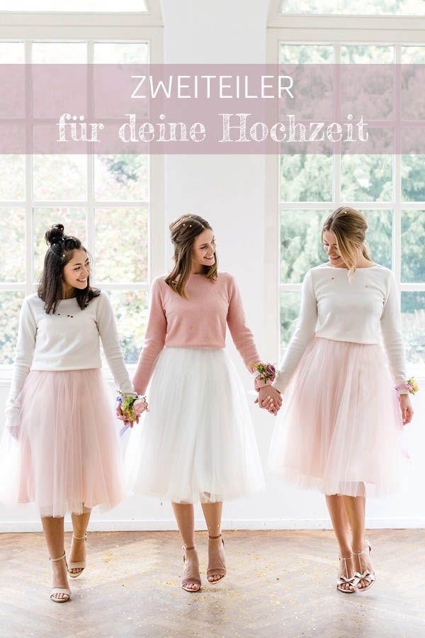 Zweiteiler Fur Die Hochzeit Moderne Brautkleider Mit Tullrock Und Braut Pullover Von Noni Braut Tullrock Outfits Outfit Hochzeit