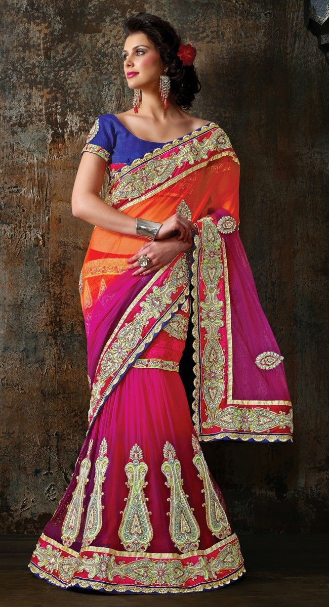 Captivating Bluish Purple & Fuchsia Lehenga Choli