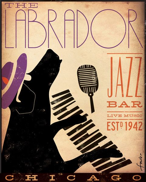 Labrador Jazz club original graphic illustration by geministudio, $95.00