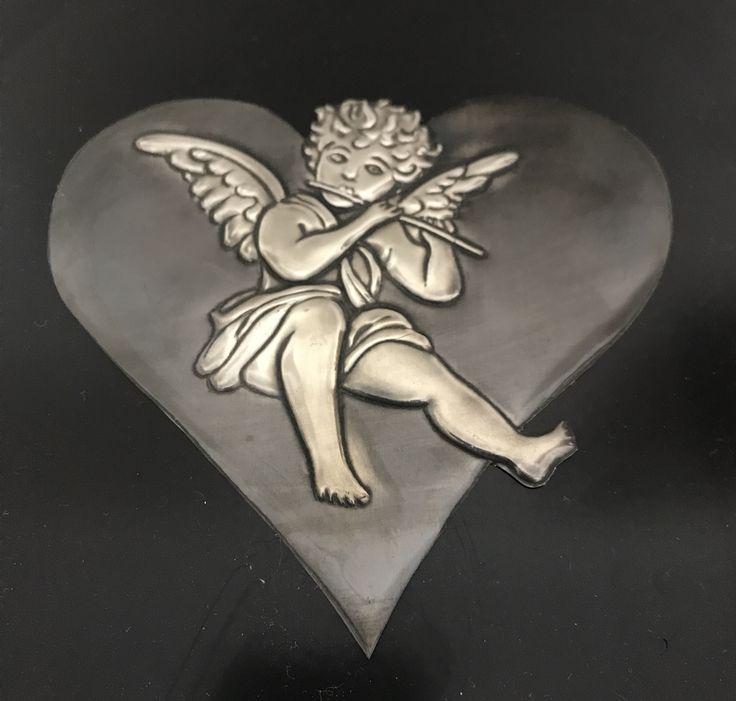 Embossed pewter angel by Lee@ The Pewter Room