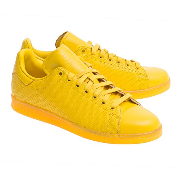 ADIDAS ORIGINALS Stan Smith Yellow // Flat leather sneakers ($52) ❤ liked on Polyvore featuring shoes, sneakers, shoes - sneakers, real leather shoes, adidas originals, adidas originals sneakers, yellow sneakers and yellow trainers
