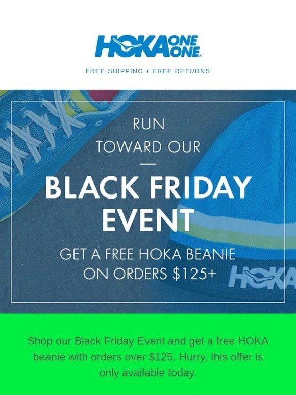 Get a free HOKA beanie on orders $125+
