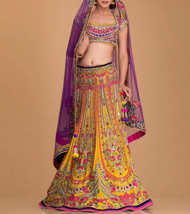 Yellow & Pink Embellished Silk Lehenga Set