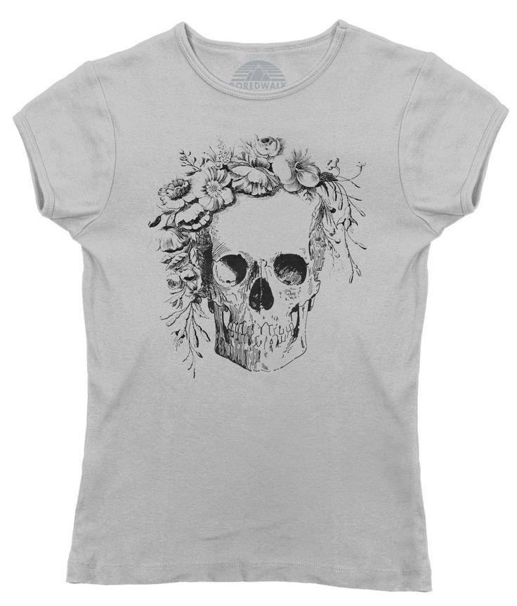 Women's Floral Skull T-Shirt - Juniors Fit