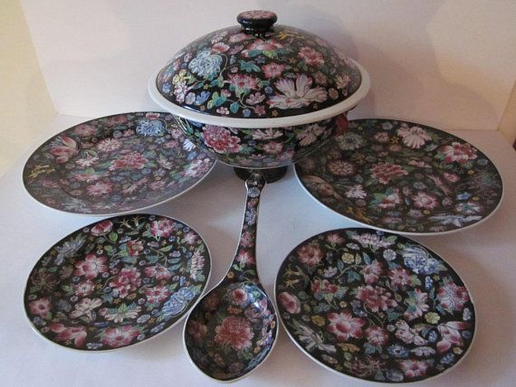Chinese Porcelain Famille Rose Plates Soup Tureen Soup Spoon Chinese Dinnerware Set Hand Painted Millefleur Floral With Images Dinnerware Set Dinnerware Serving Spoons