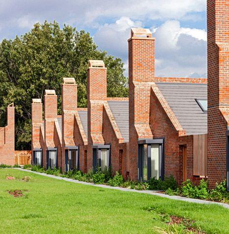 Brick bungalows provide social housing for elderly residents in east London.