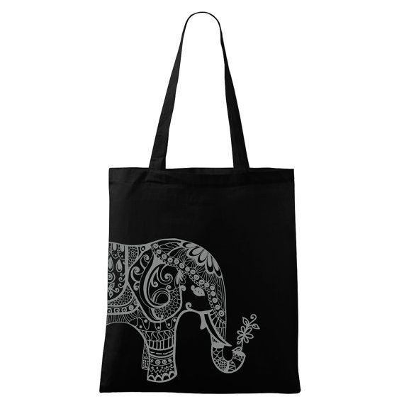 Elephant bag Yoga bag Eco-friendly printed Black by DrasiShop