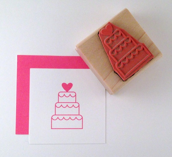 Wedding Cake with Heart Rubber Stamp by cupcaketree on Etsy, $7.50
