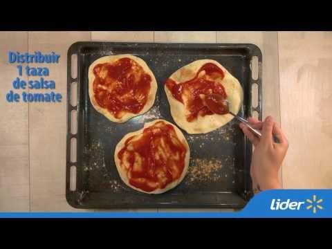 Mini pizzas individuales de jamón pierna, verduras y queso - Recetario Express de Lider