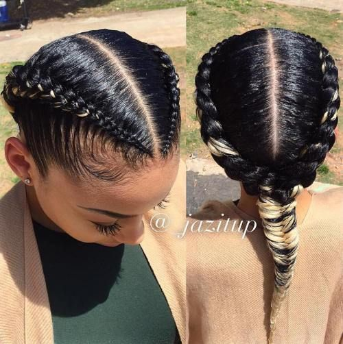 Two+Braids+Into+One+Black+Hairstyle
