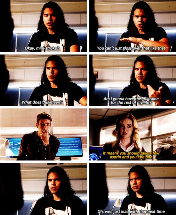 """Mini-stroke? You can't just gloss over that like that. What does it mean?"" - Cisco, Caitlin and Barry #TheFlash"