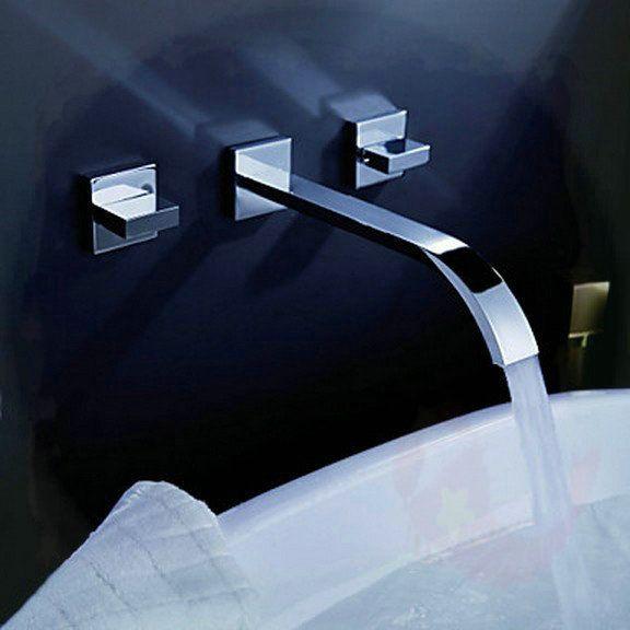 three holes Bath Basin Tap Brass Mixer Waterfall Chrome Wall Mounted Faucet MF04 torneira eletrica banheiro