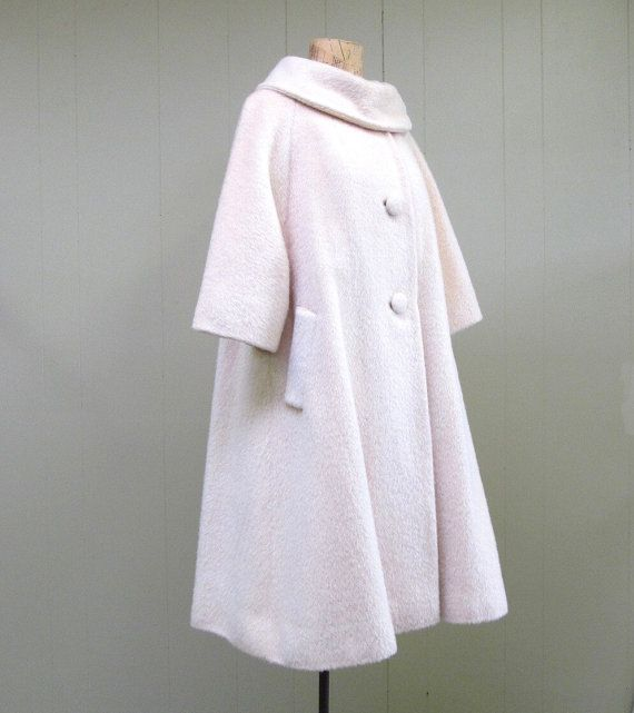 Vintage 1950s Lilli Ann ivory mohair wool swing coat Darrell's maternity coat but in purple