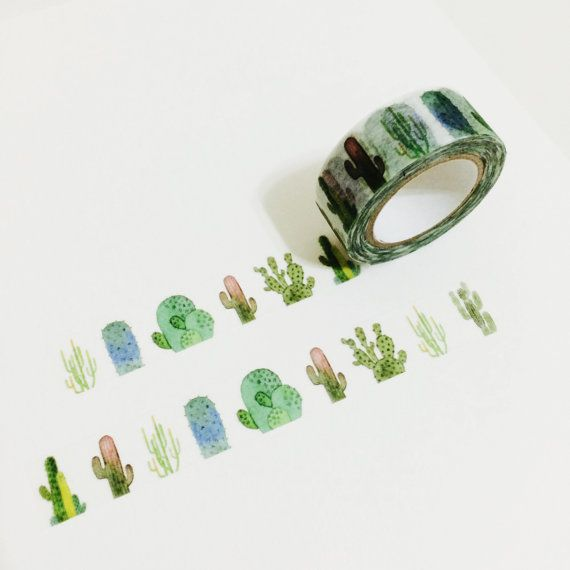 15mm (width) * 10m (length), cactus printed washi tape. Paper textured and less sticky so that it could be used repetitively! *Orders will be wrapped