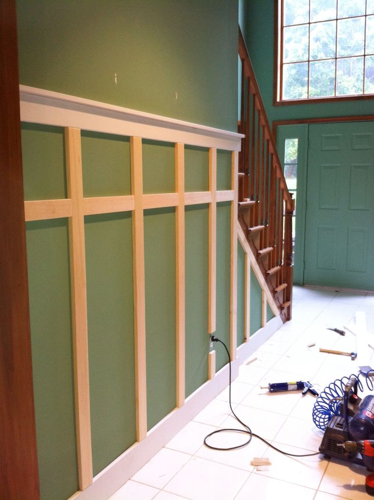 Wainscoting :-)  explained to a friend how easy this was to do…& her entry way turned out fantastic !!!