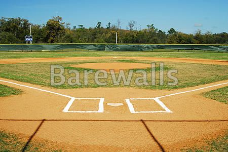 """Shot of an empty baseball field."" - Baseball posters and prints available at Barewalls.com"