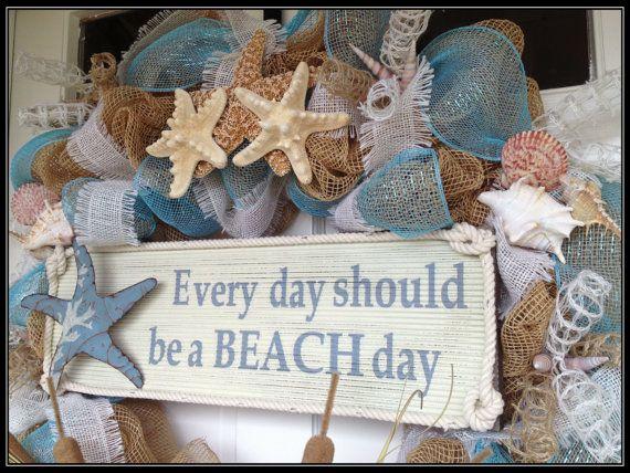 Seashell Deco Mesh en jute krans Dagelijks door JustHangingRound