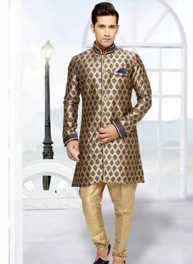 Blue & Gold readymade Indian brocade sherwani for weddings