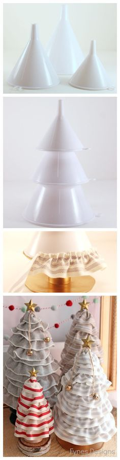 **DIY Christmas Tree Cone - That's right - No more expensive styrofoam forms - KITCHEN FUNNELS! Available at every dollar store on earth! Stack them and viola a tree! https://www.facebook.com/pages/Rustic-Farmhouse-Decor/636679889706127