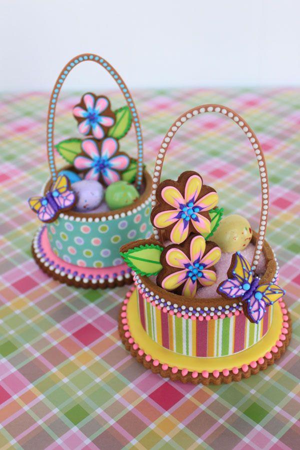3-D Contoured Easter Basket Cookies by Julia M. Usher, www.juliausher.com