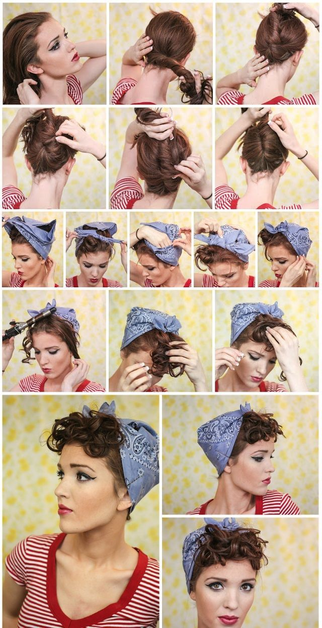 Vintage Hairstyles Curls In 2020 Bandana Hairstyles Short Scarf Hairstyles Rockabilly Hair