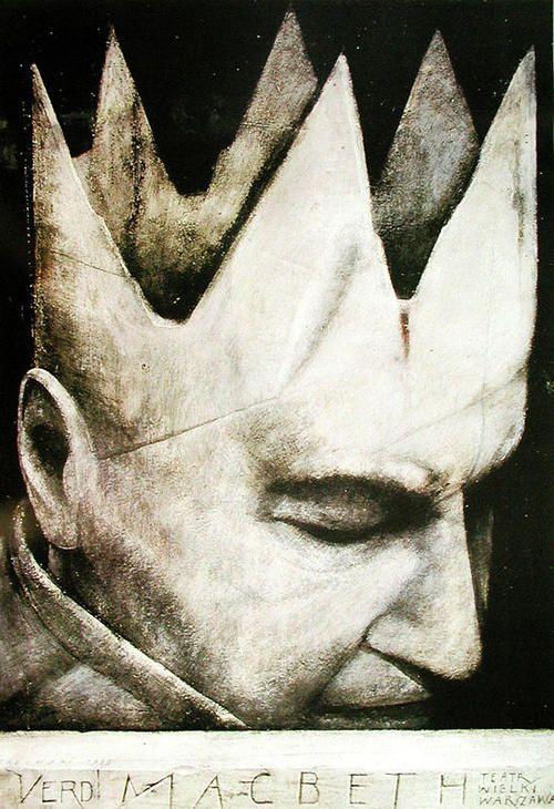 Theatre poster for Verdi's opera Macbeth, 1985 by Wiktor Sadowski