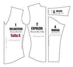 Molde de costura gratis para blusa manga larga Talla S M L para imprimir en casa. Formato PDF. Free Sewing Pattern