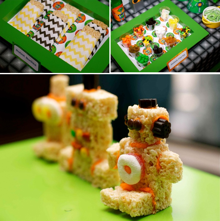 robot party, use candy to decorate robot rice krispies