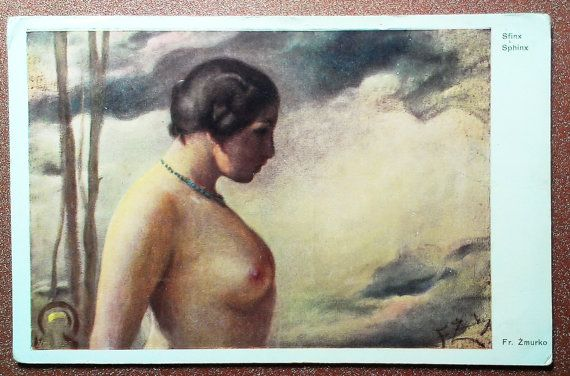 Vintage postcard.Nude woman with necklace around by JustSweetHoney