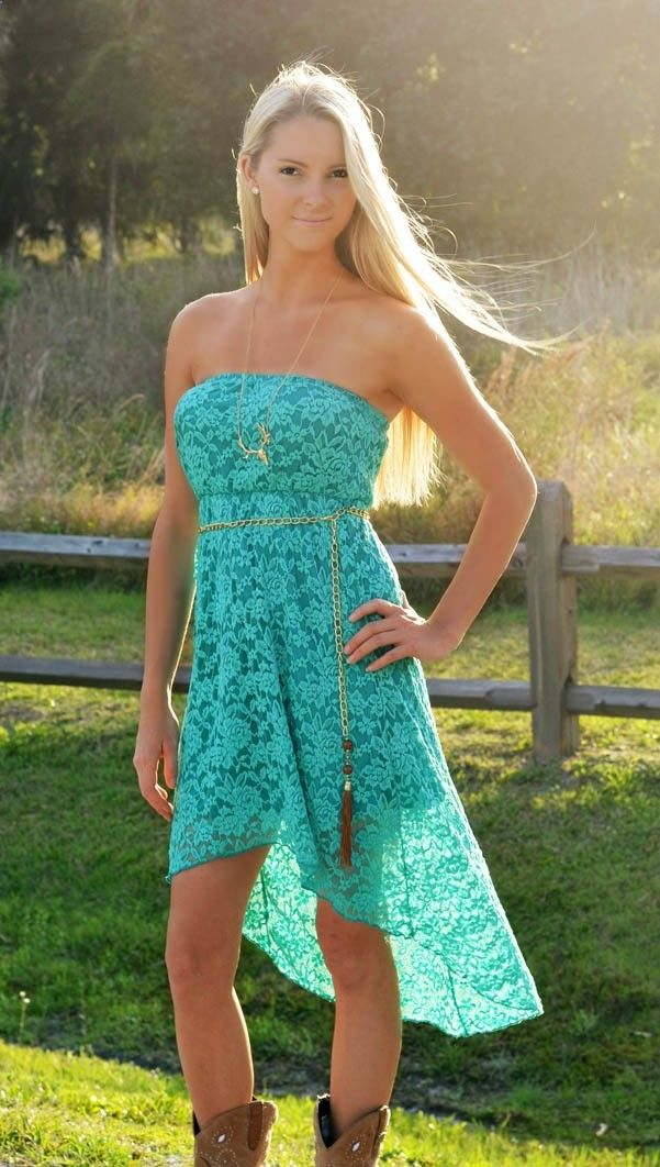 Coral or Teal Western style Lace dress. Id wear this with ...  Coral or Teal W...