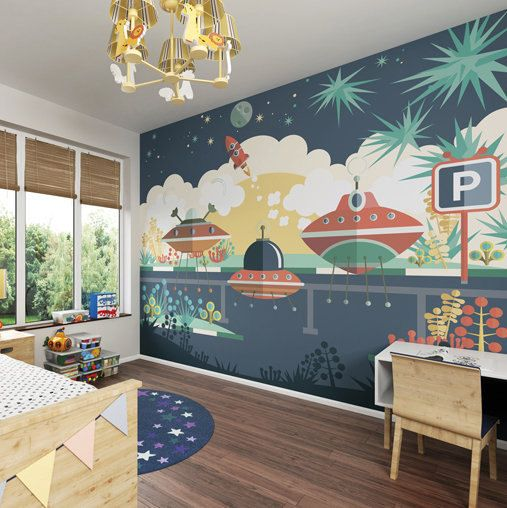 Large Boys Spaceship Photo Wallpaper Wall Mural Childrenu0027s Bedroom Decor,  Nursery Wall Art, Boys Part 22