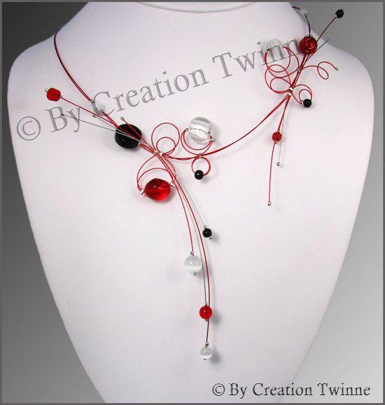 rosso nero vetro onice collana collana di di creationtwinne