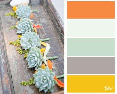 orange white mint gray yellow