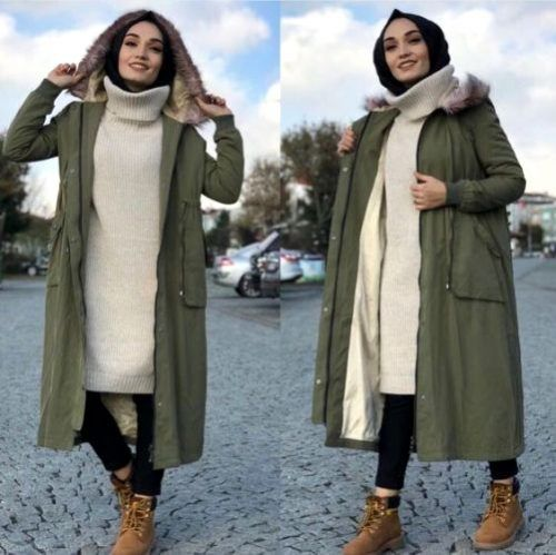 Army long furry coat hijab-Instargram hijab fashion outfits – Just Trendy Girls