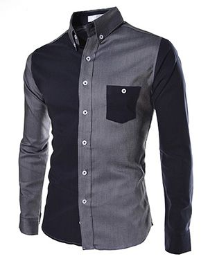 (AL738-DARKGRAY) Slim Fit 2 Tone Stretchy Pocket Patched Long Sleeve Shirts
