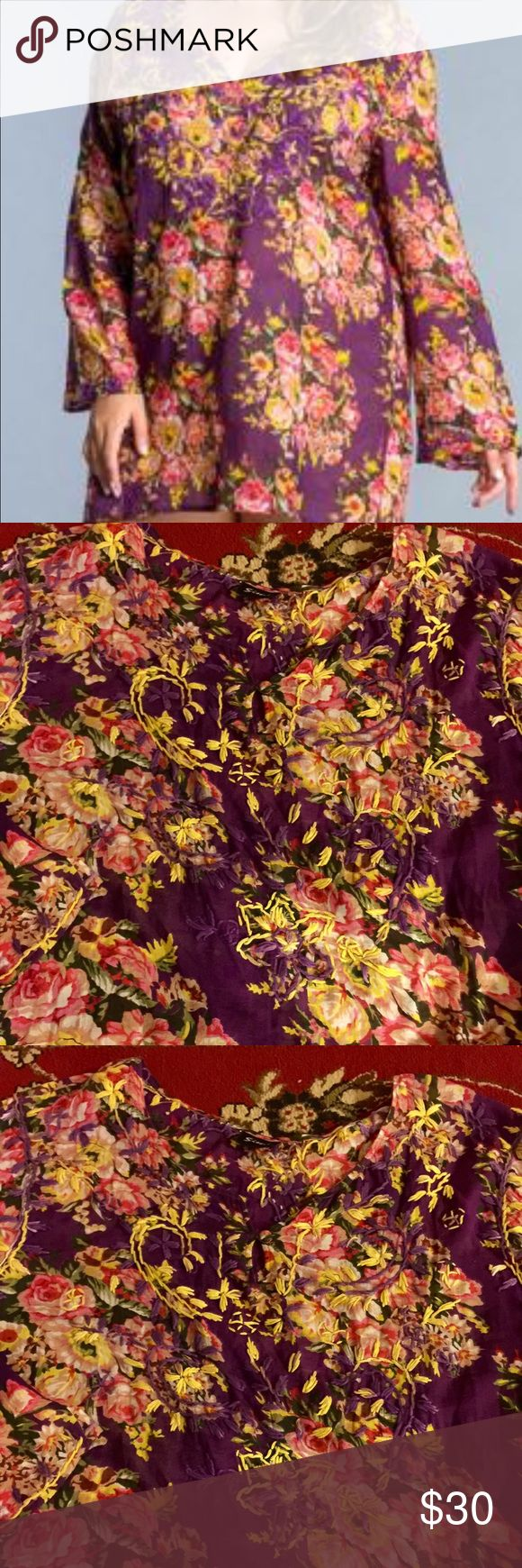 Swim cover or tunic Beautiful floral with embroidery size 3x tunic can b worn as swim cover up also SIMI Tops Tunics
